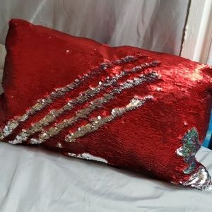 Pier 1 red and silver sequence pillow